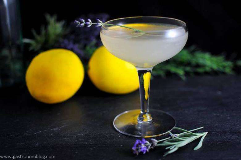 Lavender Bee's Knees Cocktail in coupe with lavender sprig. Lemon and flowers in background