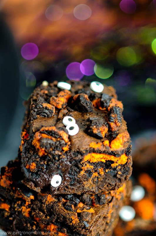 Stack of Halloween Oreo Monster Brownies with eyes