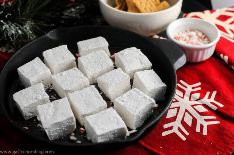 Candy Cane Skillet Smores with Boozy Marshmallows