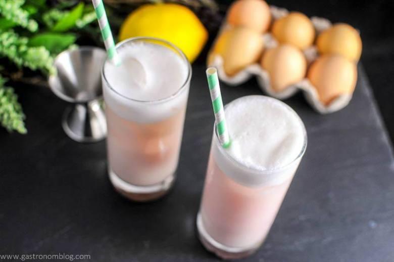 Raspberry Peach Ramos Gin Fizz