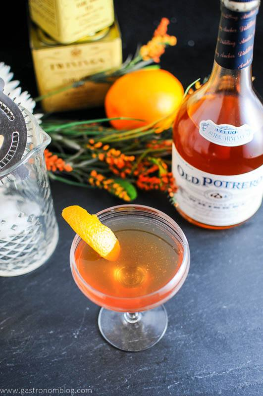 top shot of the Earl Grey Manhattan made with Anchor Distilling Old Potrero 18th Century Style Whiskey.