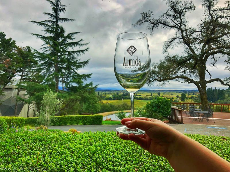 Sipping a white wine at Armida Winery and looking at the view over the Dry Creek Valley.