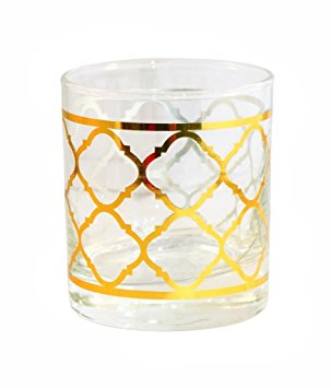 Set of 6 Heavy Glass Cold Beverage Drinking Glasses 8 ounces (Gold Tiles)