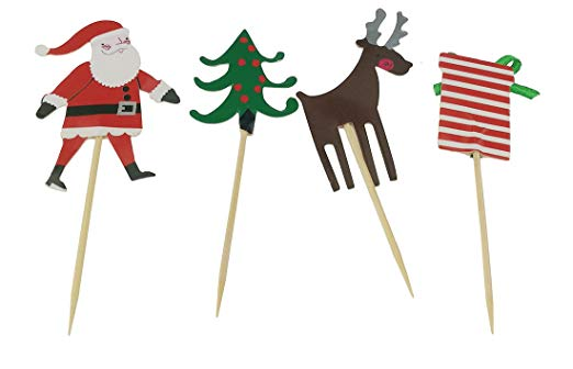 Mini Christmas Tree Santa Elk Gift Box Party Decorations Food Toothpicks For Cupcake Muffin Topper