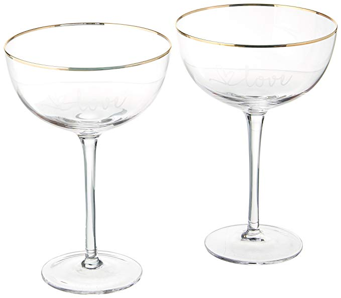 Cathy's Concepts LOV-1240G 8 Oz. Gold Love Rim Coupe Flutes, Clear/Gold