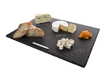 """4 Sizes to Choose: Stone Age Slate cheese board (12""""x16"""" Tray) with Soap Stone Chalk"""