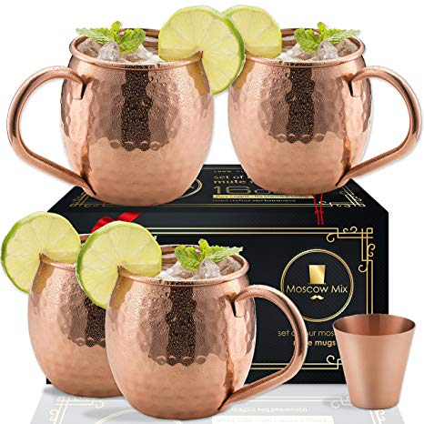 Moscow Mule Copper Mugs Set of 4 - Solid Copper Handcrafted Copper Mugs for Moscow Mule Cocktail - 16 Ounce - Shot Glass Included