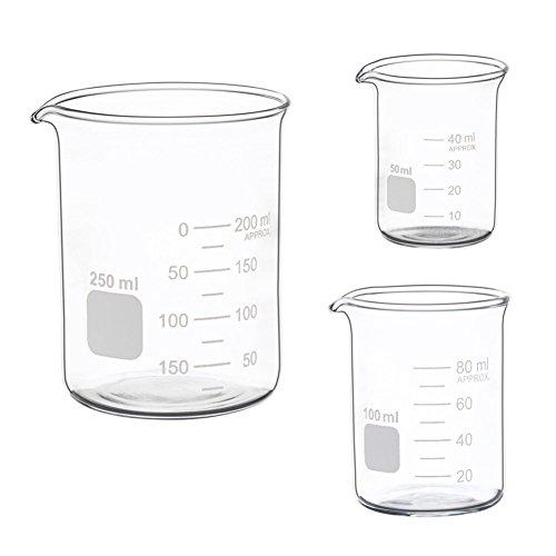 Ronyes Lifescience Glass Measuring Low Form Beaker Set 50ml 100ml 250ml Glass Graduated Beaker Set