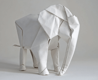 Serviette origami en éléphant