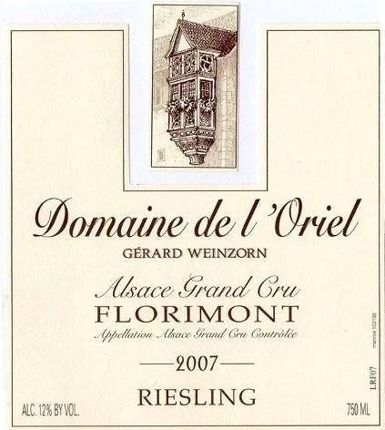 Étiquette Alsace Grand cru Florimont Riesling