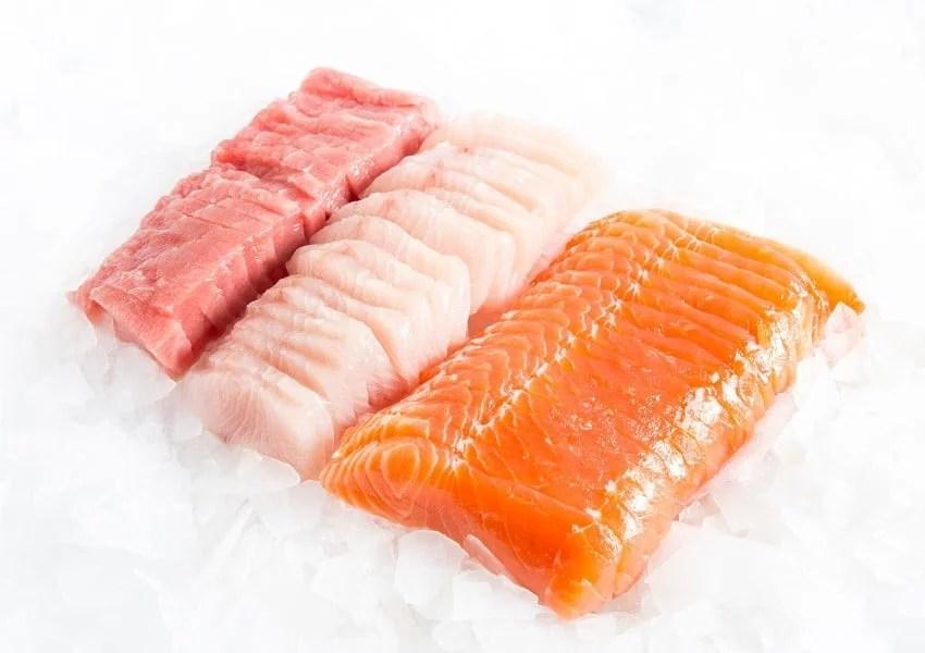 Sashimi de thon, de daurade et de saumon