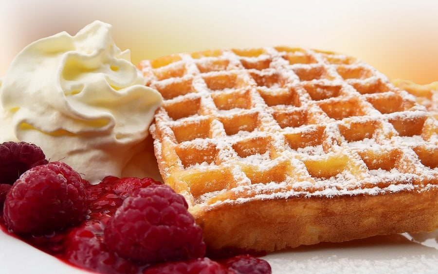 Gaufre framboises chantilly