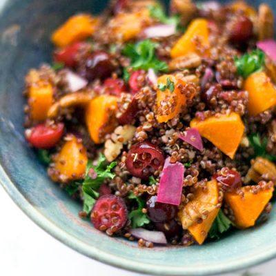 Quinoa con calabaza, arándanos y pecanas