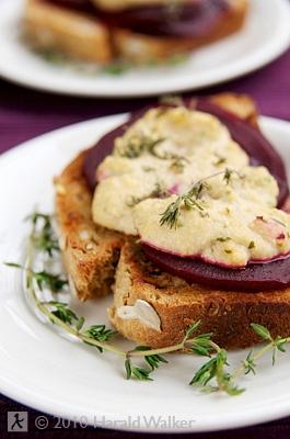 Beet Brushetta with Homemade Vegan Blue Cheese