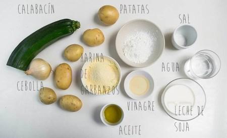 Ingredientes para hacer tortillas de patata veganas