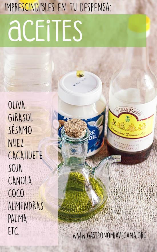 Alimentos imprescindibles en una despensa vegana: aceites y grasas -- GastronomiaVegana.org