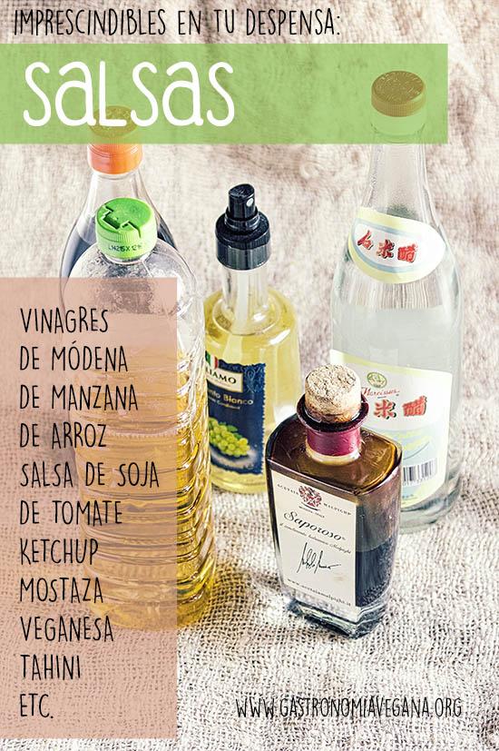 Alimentos imprescindibles en una despensa vegana: vinagres y salsas -- GastronomiaVegana.org