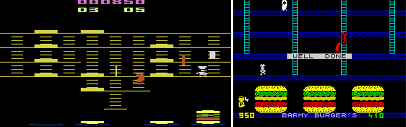 Burger Time (Atari, 1982) y Barmy Burgers (Spectrum, 1983)