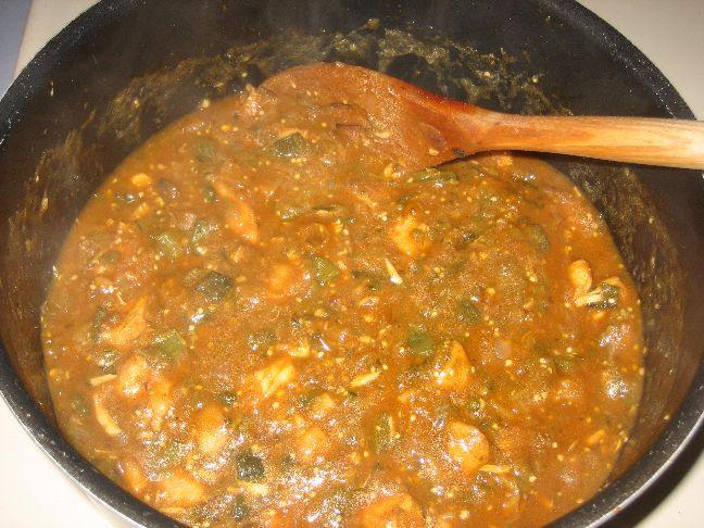 Chicken chilli verde finished