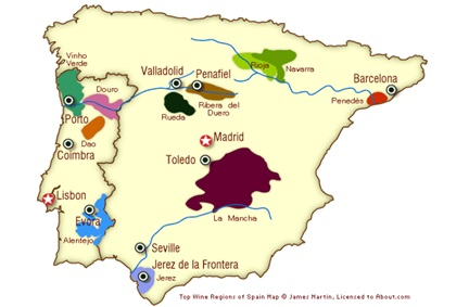 map of spain for silver fork lodge wine dinner