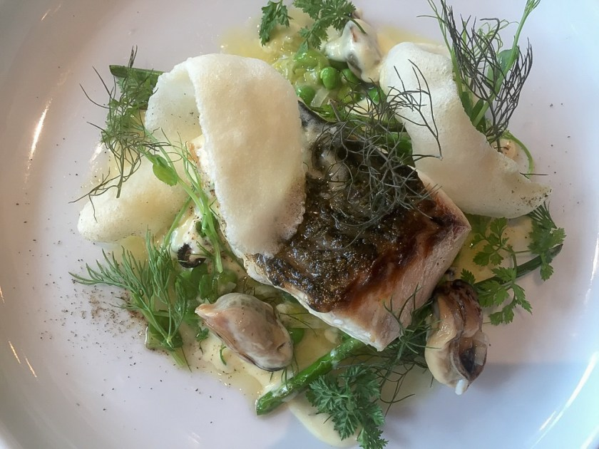 The Annex By Epic: Blue snapper, bouchot mussels, split english peas, leeks, champagne butter, bronze fennel.