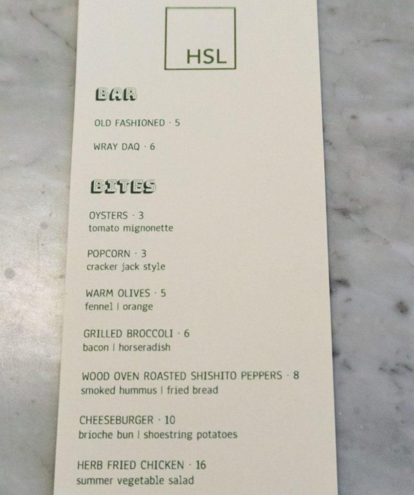 hsl bar bites menu