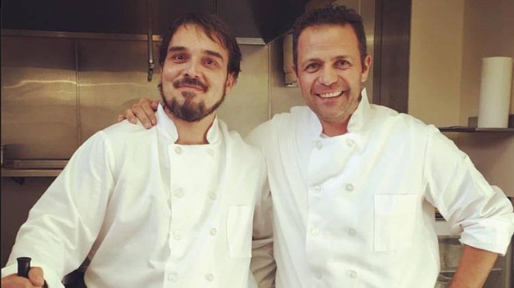 Marco Stevanoni (right) in the kitchen at Veneto