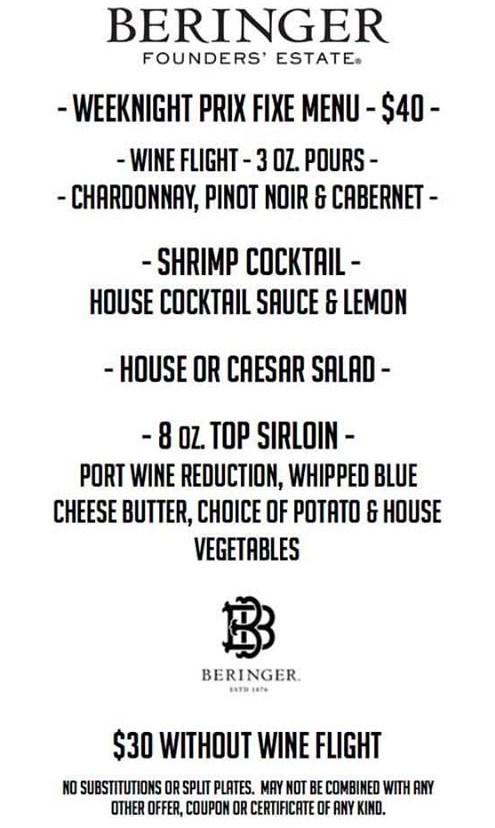 Beringer Weeknight Prix Fixe menu at Hoof And Vine