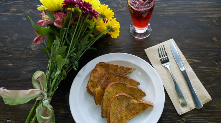Even Stevens - brioche French toast and a bubbly berry mimosa