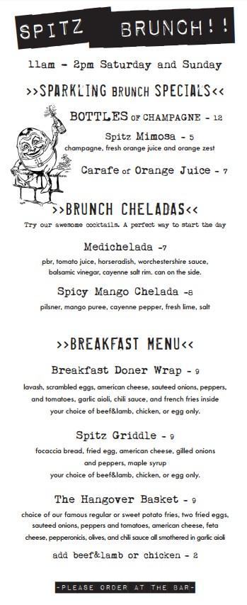 Spitz - brunch menu