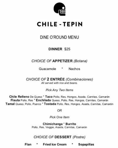 Chile-Tepin Dine O Round menu