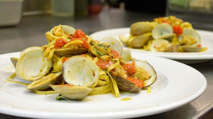 Carmines - spaghetti with clams. Credit, Carmines.