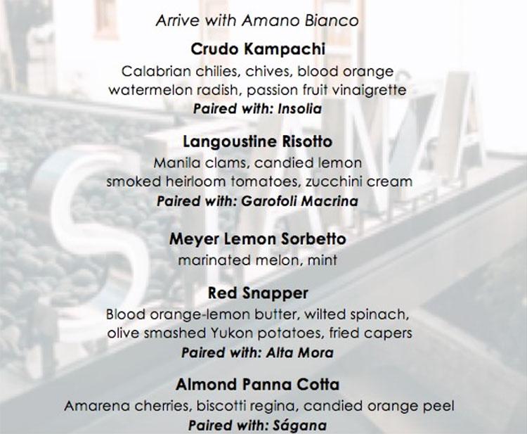 Souther Italian wine dinner menu 2017