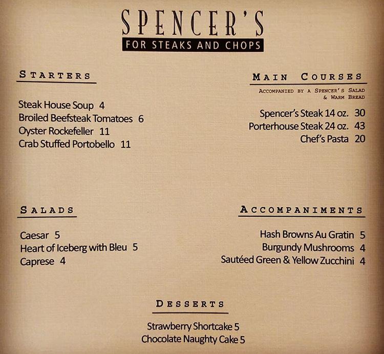 Spencer's 20 year menu