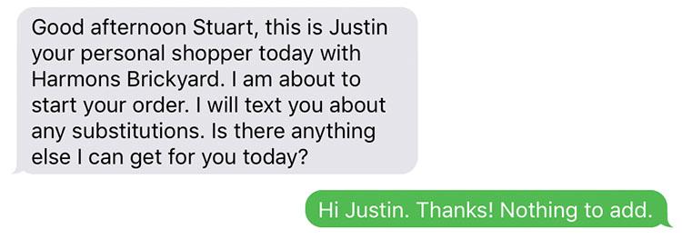 Harmons shopper text message