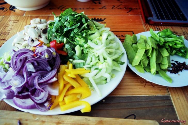 Guiso de pavo con verduras al wok