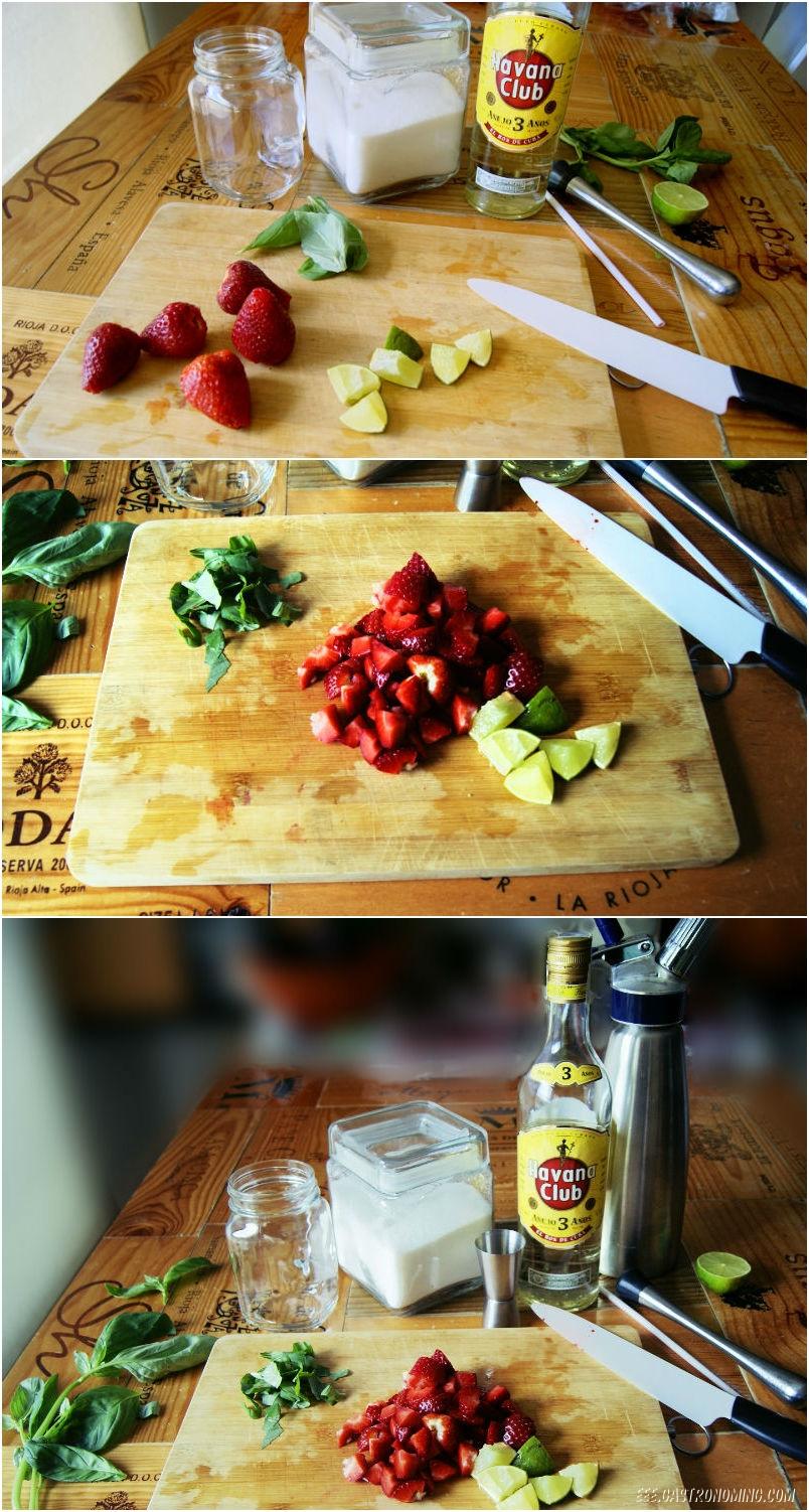 Mojito de fresa y albahaca