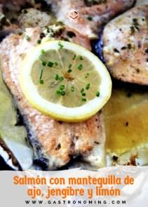 salmón con mantquilla de ajo, jengibre y limón