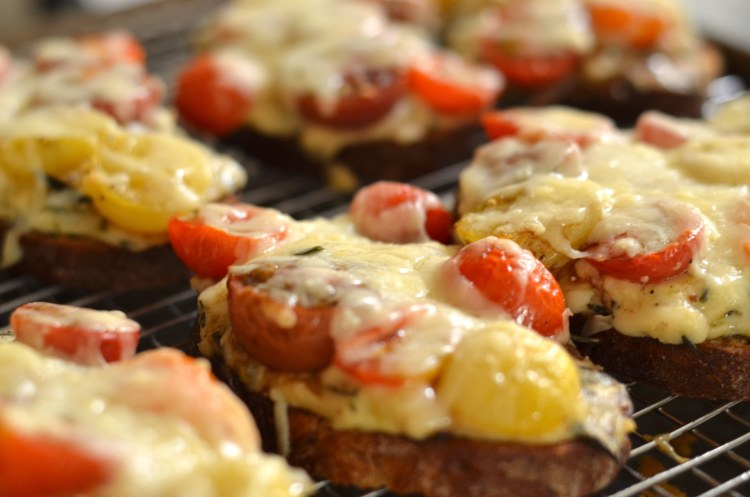 roasted tomato croques on a cooking rack