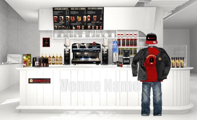 """Shop in Shop Gastronomie Konzept für Kaffee und Tee - Das neue Light-Konzept """"Espress it"""" aus dem Hause Schärf überzeugt als Shop-in-Shop-Strategie mit einem hochwertigen Angebot an Kaffee, Heiß- und Kaltgetränken. """"Espress it"""" kann auch als Selbstbedienungskonzept realisiert werden."""