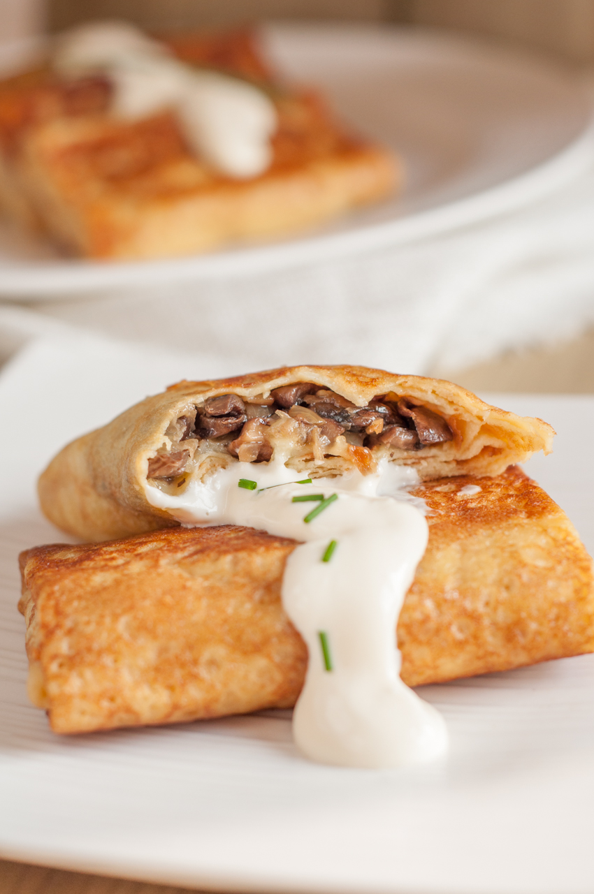 Crêpes With Mushrooms And Cheese