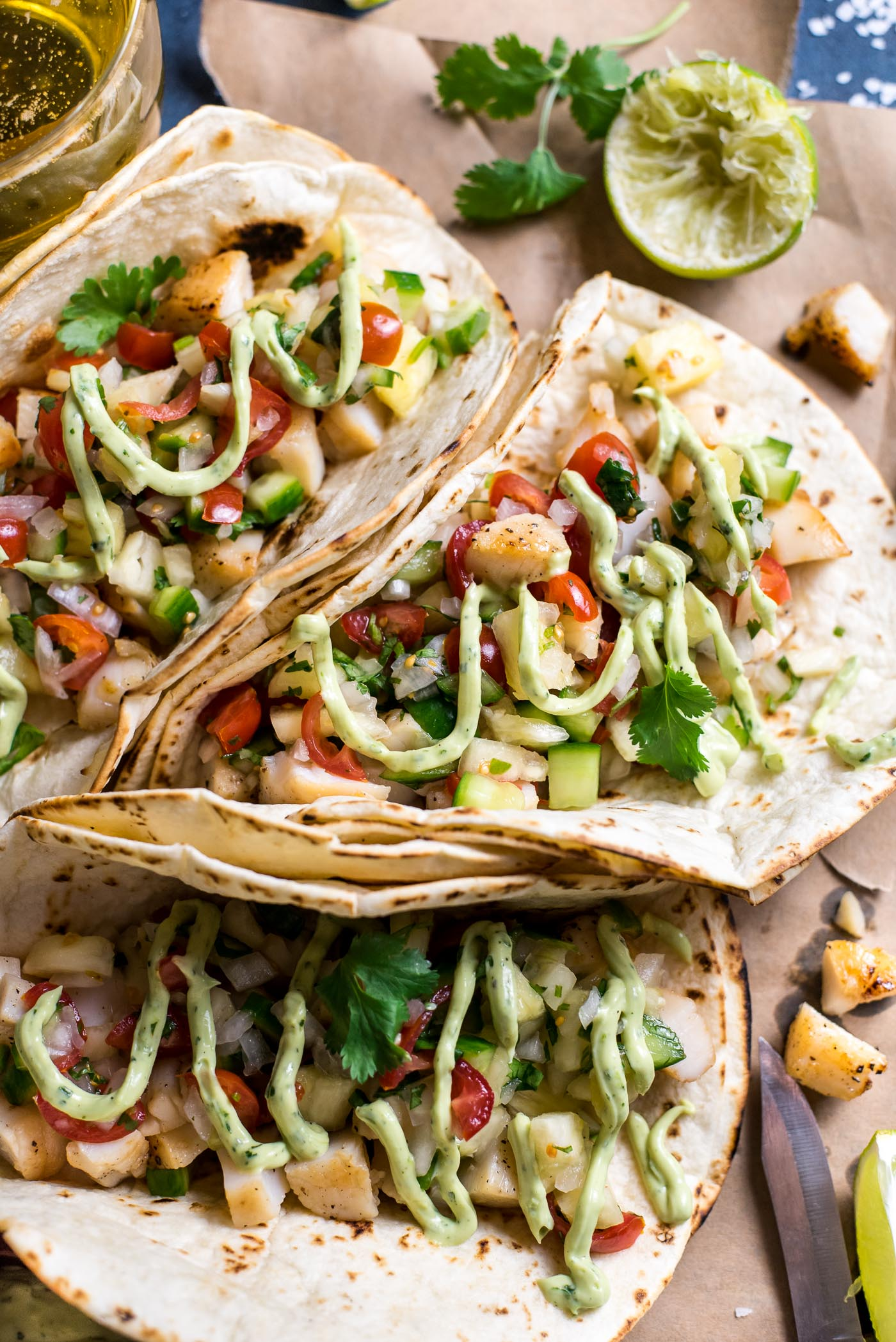 Scallop Tacos with Pineapple Salsa and Creamy Guacamole