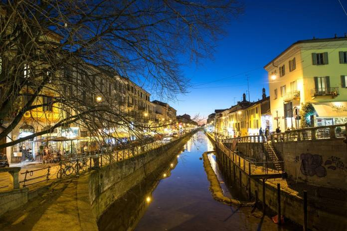 Milan Navigli at night