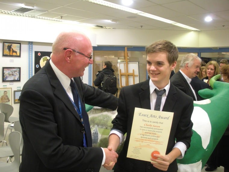 Charlie Sarson with his Essex Arts Award