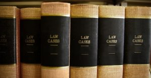Law books in a row