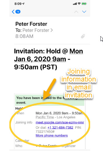 Hangouts Meet Invitation