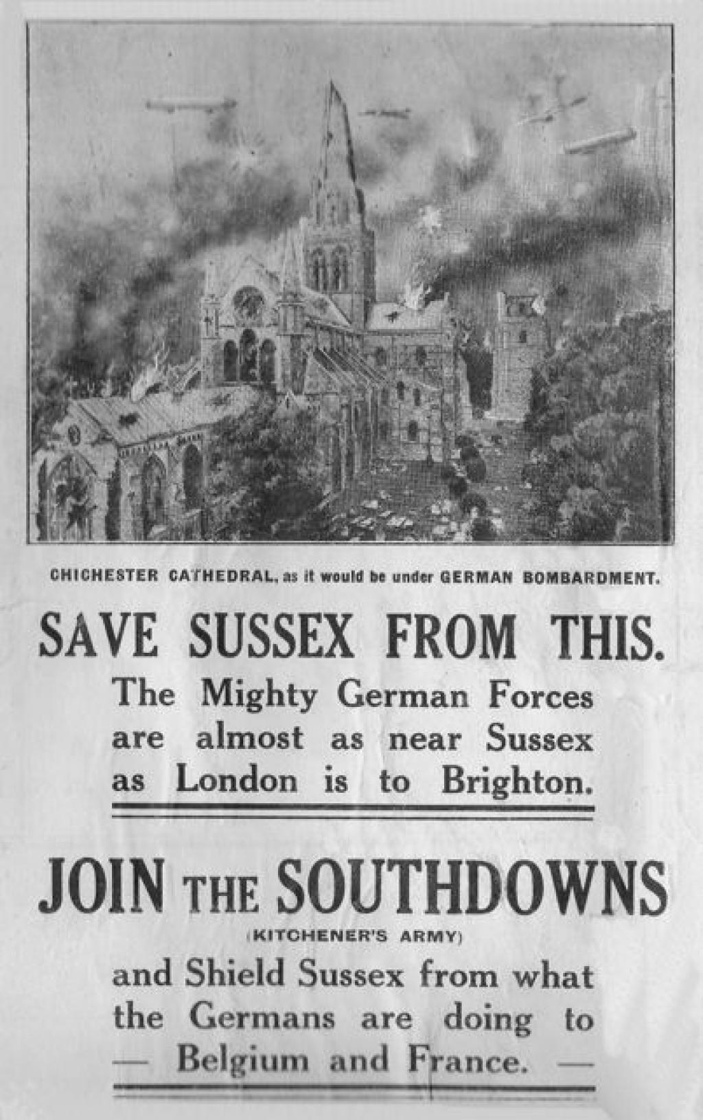 News Paper headline: Save Sussex From This. Seaford Museum & East Sussex WW1