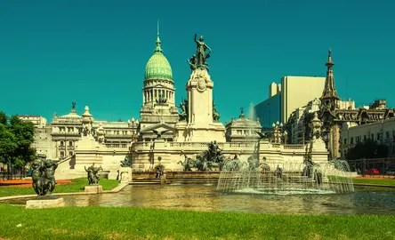 Retro style image of National Congress building, Buenos Aires, Argentina