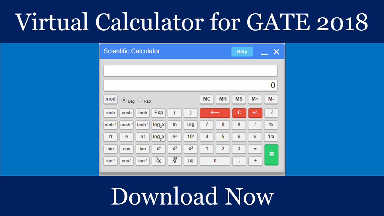 GATE 2019 Image: [Download] Virtual Calculator For GATE 2019