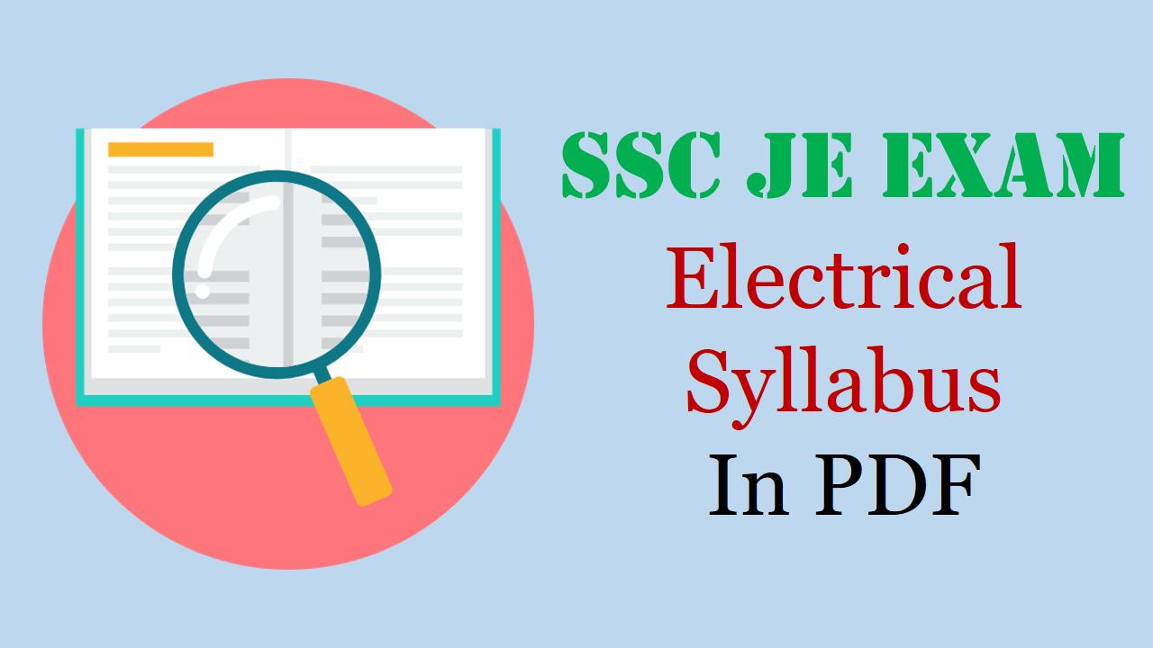 SSC JE Electrical Syllabus
